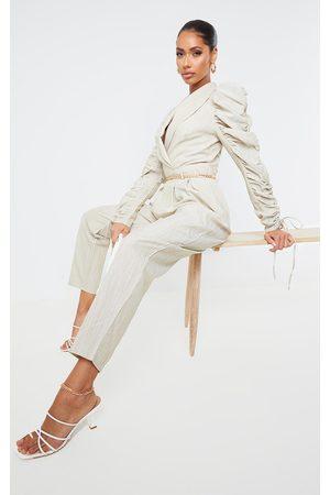 PRETTYLITTLETHING Women Jumpsuits - Ruched Sleeve Blazer Jumpsuit