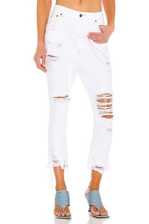 SER.O.YA Omar Drop Boyfriend Jeans in White.