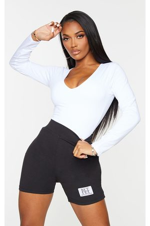 PRETTYLITTLETHING Women Bodies - Basic Shape Cotton Blend Jersey Ruched Long Sleeve Bodysuit