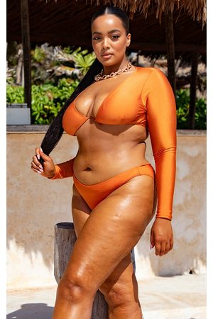 PRETTYLITTLETHING Women Bikinis - Plus Underwired Long Sleeve Bikini Top