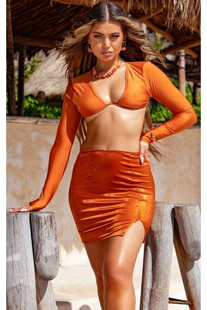 PRETTYLITTLETHING Metallic Mini Split Beach Skirt