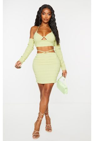 PRETTYLITTLETHING Shape Lime Textured Woven Tie Waist Bodycon Skirt