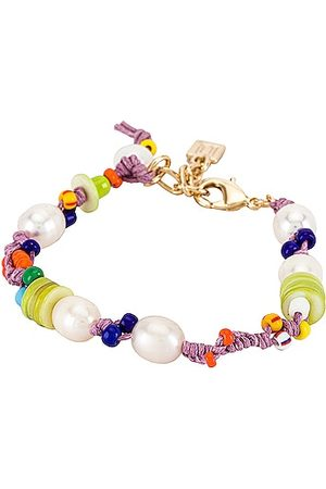 Dannijo Mita Beaded Bracelet in Metallic Gold.