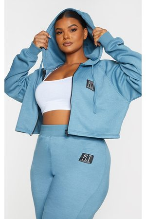 PRETTYLITTLETHING Women Hoodies - Plus Badge Zip Up Cropped Hoodie