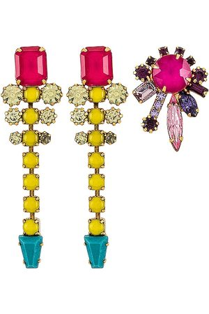 ELIZABETH COLE Women Earrings - Asymmetrical Earring Set in Yellow.
