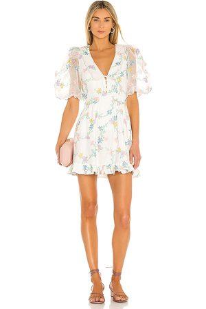 For Love & Lemons Majorie Mini Dress in Ivory.