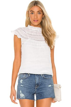 Frame Lace Insert Short Sleeve Top in .