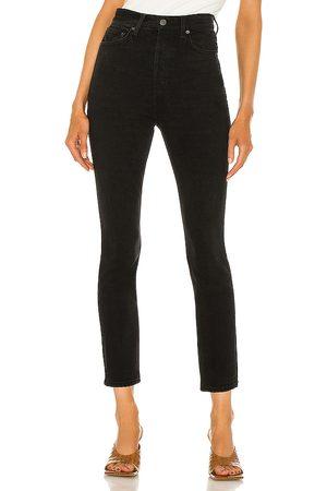GRLFRND Piper Super High Rise Stretch Slim in Black.