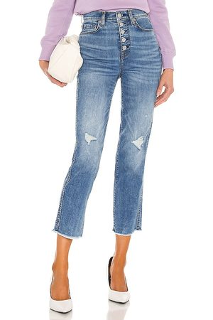 7 for all Mankind High Waist Crop Straight Exposed Buttons in Blue.
