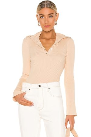 Frame Fold Over Collar Sweater in Tan.