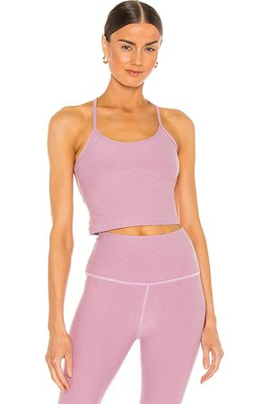 Beyond Yoga Spacedye Slim Racerback Tank in Pink.