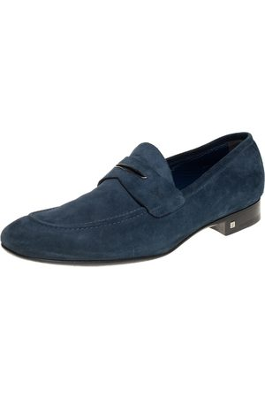LOUIS VUITTON Men Loafers - Dark Teal Suede Penny Loafers Size 43.5