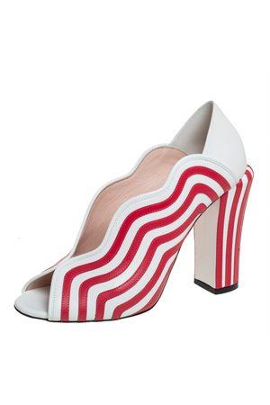 Fendi /Red Striped Leather Block Heel Pumps Size 40
