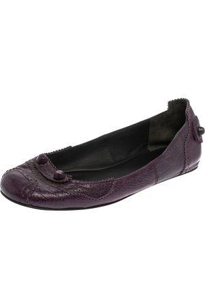 Balenciaga Leather Coquelicot Brogue Ballet Flats Size 38.5