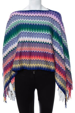 Missoni Chevron Patterned Knit Fringe Detail Poncho (One Size)