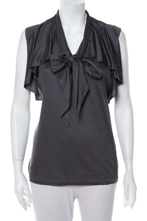 Ralph Lauren Women Tank Tops - Dark Grey Lyocell Ruffled Neck Tie Detail Sleeveless Top L