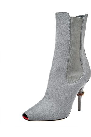 Burberry Women Ankle Boots - Grey Canvas And Elastic Fabric Peep Toe Kenzie Ankle Boots Size 37.5