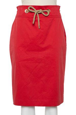 Carolina Herrera CH Vintage Cotton Waist Tie Detail Knee Length Skirt L