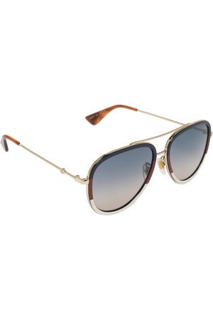 Gucci Striped / Blue Gradient GG0062S Aviator Sunglasses