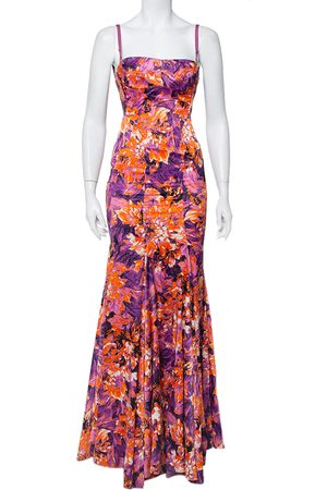Roberto Cavalli Women Printed Dresses - Printed Stretch Satin Bustier Maxi Dress S
