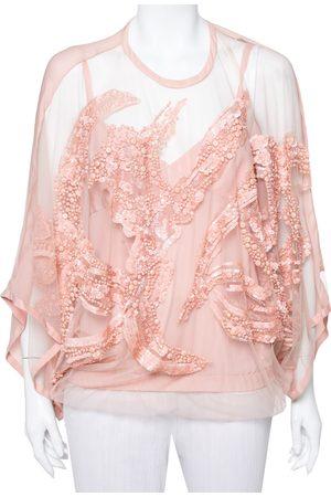 Elie saab Pale Semi-Sheer Sequin Embellished Oversized Top XS