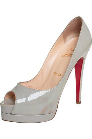 Christian Louboutin Grey Patent Leather Altadama Peep Toe Platform Pumps Size 36.5