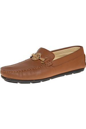Roberto Cavalli Men Loafers - Leather Logo Detail Loafers Size 39