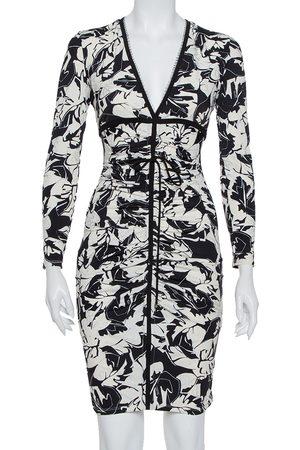 Roberto Cavalli Monochrome Printed Knit Ruched Plunge Neck Dress S