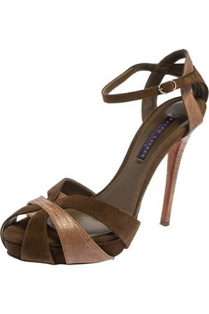 Ralph Lauren Suede And Lizard Leather Janessa Fall Ankle Strap Platform Sandals Size 39