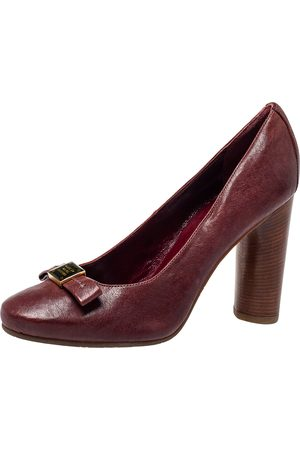 Marc Jacobs Marc By Burgundy Leather Bow Wooden Heel Pumps Sze 38