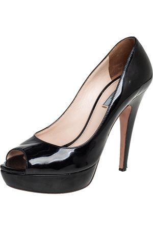 Prada Patent Leather Peep Toe Platform Pumps Size 37.5
