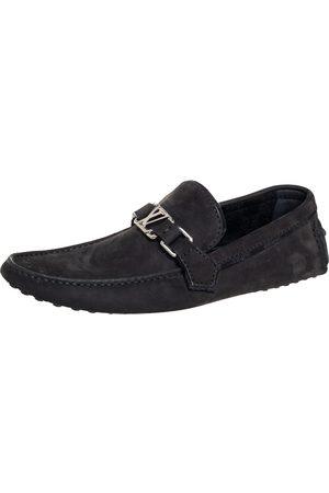 LOUIS VUITTON Men Loafers - Nubuck Leather Hockenheim Slip On Loafers Size 41.5
