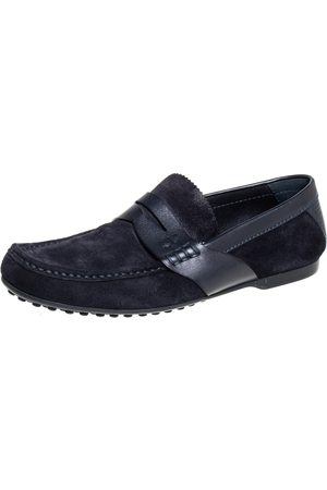 LOUIS VUITTON Navy Suede Penny Loafers Size 41