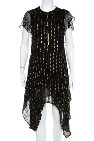 Zadig & Voltaire Zadig&Voltaire Noir Crepe Lurex Detail Rool Shiny Asymmetric Hem Dress M