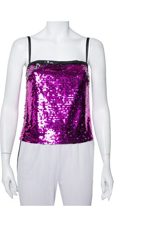 Dolce & Gabbana Women Camisoles - Fuschia Sequin Paillette Embellished Camisole Top S