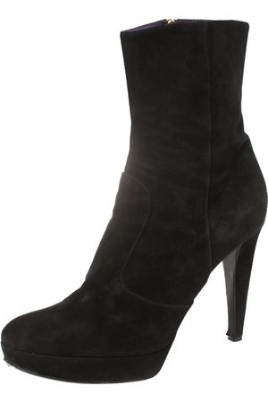 Sergio Rossi Women Ankle Boots - Suede Platform Ankle Boots Size 41