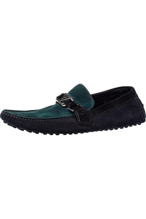LOUIS VUITTON Tricolor Suede Hockenheim Slip On Loafers Size 41.5