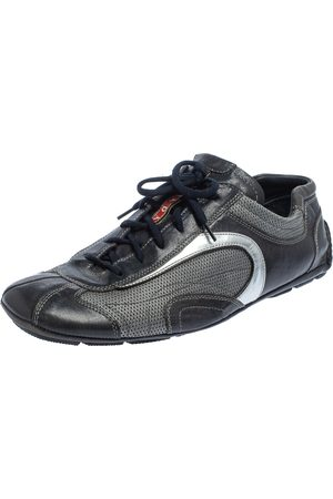 Prada Navy /Silver Leather And Mesh Low Top Sneakers Size 45.5