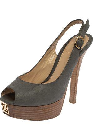 Fendi Grey Nubuck Leather sta Slingback Platform Pumps Size 37