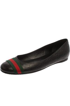 Gucci Ssima Leather Web Stripe Ballet Flats Size 38.5