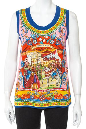 Dolce & Gabbana Women Tank Tops - Caretto Printed Silk Tank Top S