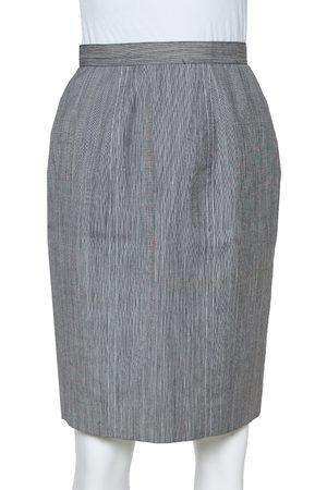 Dior Christian Grey Wool High Waist Pencil Skirt M