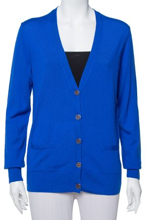 Tory Burch Women Cardigans - Royal Wool Button Front Madeline Cardigan L
