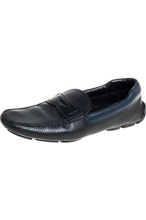 Prada /Blue Perforated Leather Penny Slip On Loafers Size 41