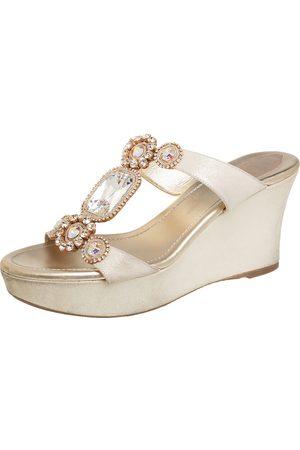 RENÉ CAOVILLA Rene Caovilla Glitter Nubuck Embellished Wedge Platform Slide Sandals Size 37