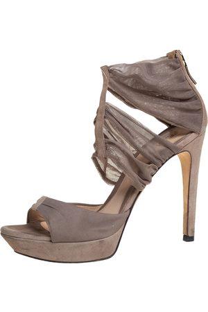 Fendi Women Platform Sandals - Grey Lace and Suede Platform Sandals Size 37.5