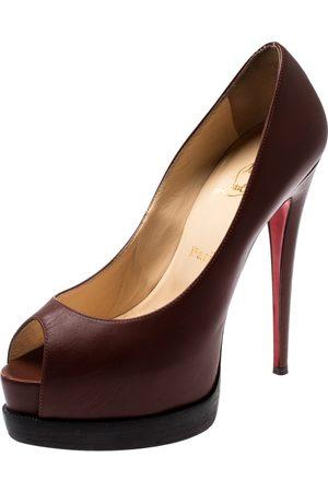 Christian Louboutin Leather Peep toe Platform Pumps Size 38.5
