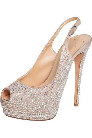 Giuseppe Zanotti Suede Crystal Embellished Liza Peep Toe Platform Pumps Size 37.5