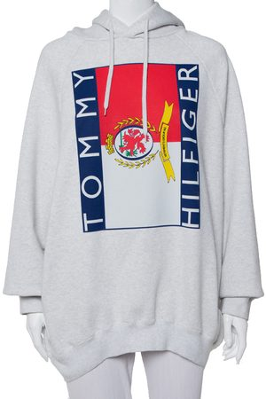 Vetements X Tommy Hilfiger Grey Logo Printed Knit Hooded Sweatshirt S