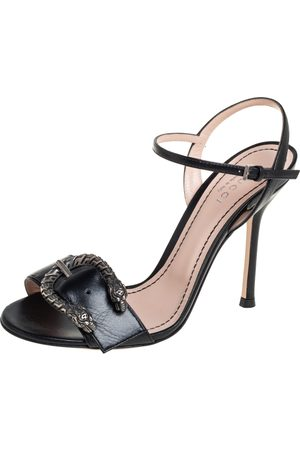 Gucci Women Sandals - Leather Buckle Ankle Strap Sandals Size 36